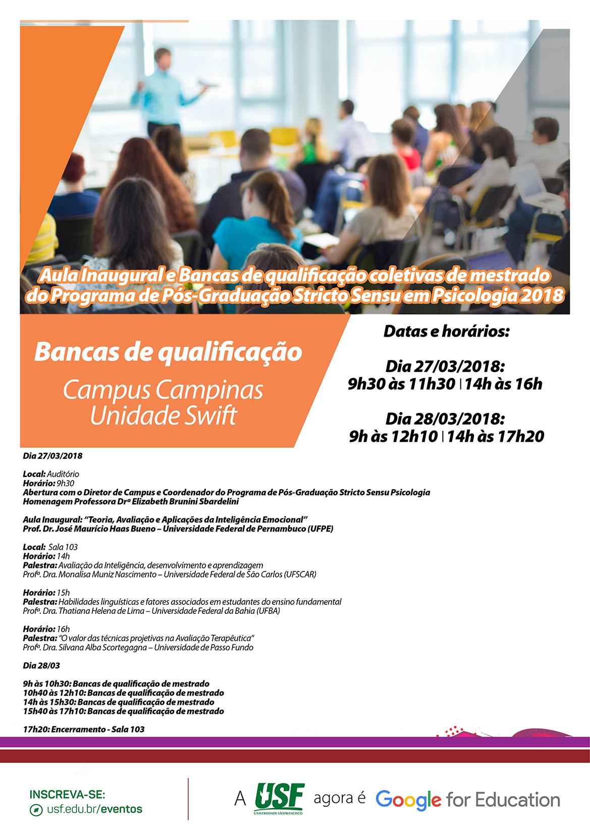 795915ba0c Aula Inaugural e Bancas de qualificação coletivas de mestrado do Programa  de Pós-Graduação Stricto Sensu em Psicologia 2018